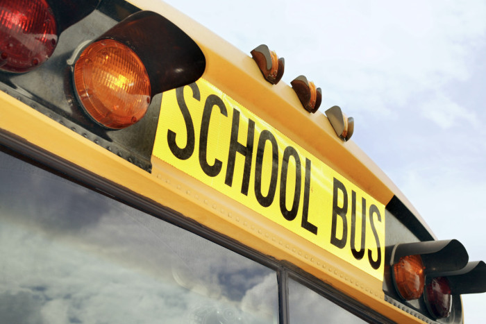 Flashing Lights and Sign on School Bus
