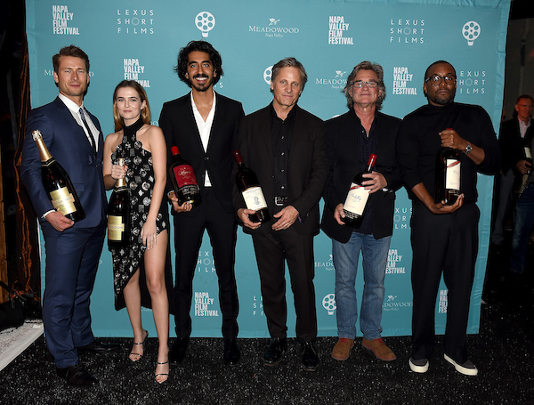 Honorees Glen Powell, Zoey Deutch, Dev Patel, Viggo Mortensen, Kurt Russell, and Lee Daniels. Courtesy of PictureGroup for Napa Valley Film Festival